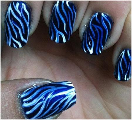 Zebra Stripes Animal Themed Nail Art Designs