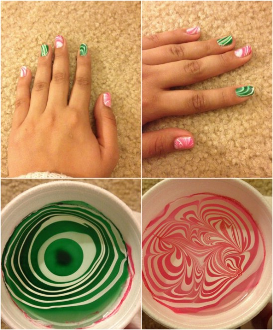 Festive Water Marbling Fantastic Christmas Nail Art Designs