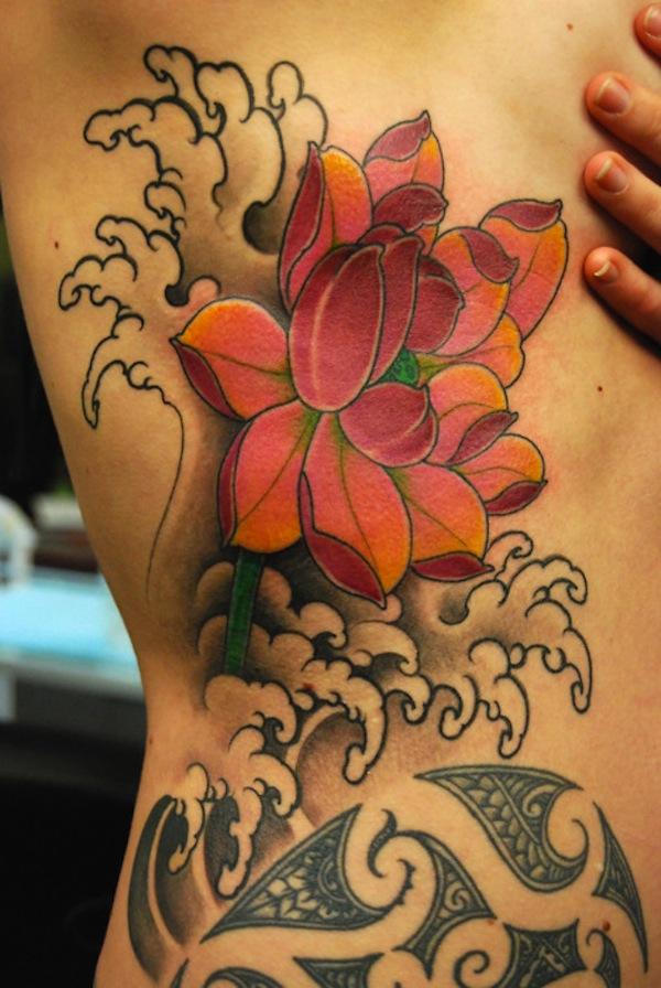 Lotus Flower Tattoo On The Rib Area New Lotus Flower